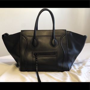 Celine Mini Luggage Handbag in Black Calfskin